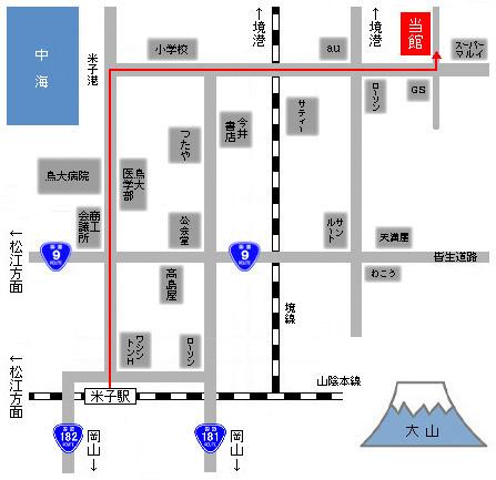 JR米子駅からの経路地図